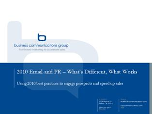 2010 Email Marketing and PR - What's Different?
